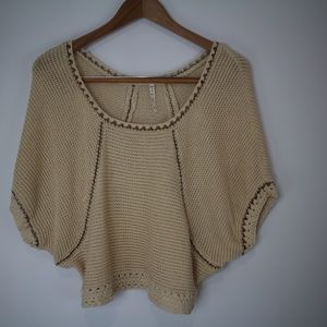 Willow & Clay Crochet Knit Chain Linked Sweater